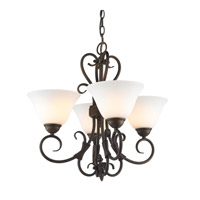 Homestead 4 Light 19 inch Rubbed Bronze Mini Chandelier Ceiling Light in Opal Glass