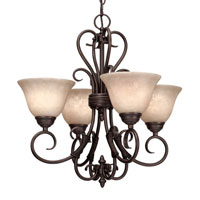 Golden Lighting Homestead 4 Light Mini Chandelier in Rubbed Bronze 8606-GM4-RBZ-TEA