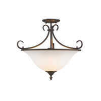 Golden Lighting 8606-SF-RBZ-OP Homestead 3 Light 19 inch Rubbed Bronze Semi-Flush Mount Ceiling Light in Opal Glass, Convertible