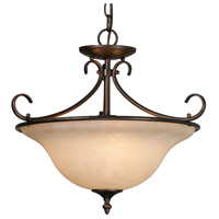 Homestead 3 Light 19 inch Rubbed Bronze Semi-Flush Ceiling Light in Tea Stone Glass, Convertible