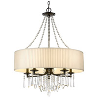Golden Lighting 8981-5-BLK-BRI Echelon 5 Light 26 inch Black Chandelier Ceiling Light in Bridal Veil Shade