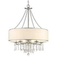 Golden Lighting 8981-5-BRI Echelon 5 Light 26 inch Chrome Chandelier Ceiling Light in Bridal Veil Shade photo thumbnail