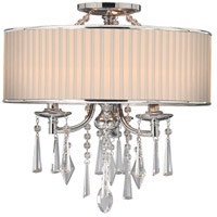 Echelon 3 Light 17 inch Chrome Semi-Flush Ceiling Light in Bridal Veil Shade, Convertible