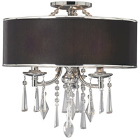 Echelon 3 Light 17 inch Chrome Semi-Flush Mount Ceiling Light in Tuxedo Shade, Convertible