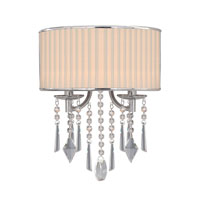 Golden Lighting Echelon 2 Light Wall Sconce in Chrome with Bridal Veil Shade 8981-WSC-BRI