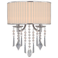 Golden Lighting 8981-WSC-BRI Echelon 2 Light 12 inch Chrome Wall Sconce Wall Light in Bridal Veil Shade photo thumbnail