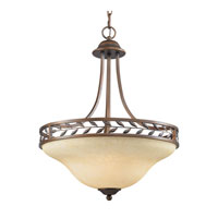 Golden Lighting Woodbriar 3 Light Bowl Pendant in Sovereign Bronze with Tea Stone Glass 8995-3P-SBZ