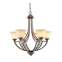 Golden Lighting Woodbriar 6 Light Chandelier in Sovereign Bronze with Tea Stone Glass 8995-6-SBZ