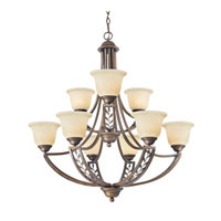 Golden Lighting Woodbriar 9 Light Chandelier in Sovereign Bronze with Tea Stone Glass 8995-9-SBZ
