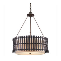 Golden Lighting Havana 3 Light Pendant in Corsini Bronze with Natural Linen Shade 9004-3P-COB