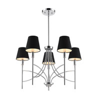 Golden Lighting Taylor 5 Light Chandelier in Chrome with Groom Shade 9106-5-CH-GRM
