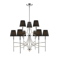 Golden Lighting Taylor 9 Light Chandelier in Chrome with Groom Shade 9106-9-CH-GRM