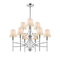 Golden Lighting Taylor 9 Light Chandelier in Chrome with Opal Shade 9106-9-CH-OPL