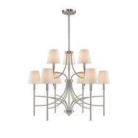 Golden Lighting Taylor 9 Light Chandelier in Pewter with Opal Shade 9106-9-PW-OPL