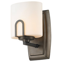 Golden Lighting Presilla 1 Light Wall Sconce in Gunmetal Bronze with Flaxen Glass 9363-1W-GMT alternative photo thumbnail