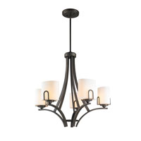 Presilla 5 Light 26 inch Gunmetal Bronze Chandelier Ceiling Light in Opal Glass