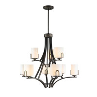Presilla 9 Light 33 inch Gunmetal Bronze Chandelier Ceiling Light in Opal Glass, 2 Tier