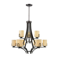 Golden Lighting Presilla 9 Light Chandelier in Gunmetal Bronze with Flaxen Glass 9363-9-GMT photo thumbnail