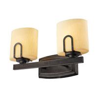 Golden Lighting Presilla 2 Light Bath Fixture in Gunmetal Bronze with Flaxen Glass 9363-BA2-GMT alternative photo thumbnail