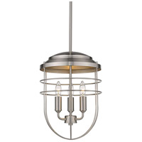 Golden Lighting 9808-3P PW Seaport 3 Light 12 inch Pewter Pendant Ceiling Light