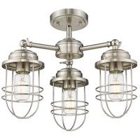 Golden Lighting 9808-3SF-PW Seaport 3 Light 16 inch Pewter Semi-Flush Mount Ceiling Light