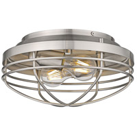 Golden Lighting 9808-FM PW Seaport 2 Light 12 inch Pewter Flush Mount Ceiling Light Damp
