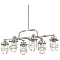 Golden Lighting 9808-LP PW Seaport 6 Light 35 inch Pewter Island Light Ceiling Light