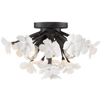 Posy 3 Light 15 inch Dark Natural Iron Flush Mount Ceiling Light