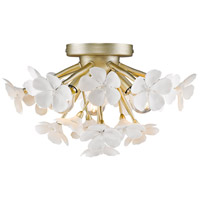 Posy 3 Light 15 inch White Gold Flush Mount Ceiling Light