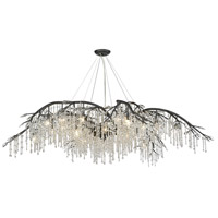Golden Lighting 9903-24 BI Autumn Twilight 80 inch Black Iron Chandelier Ceiling Light