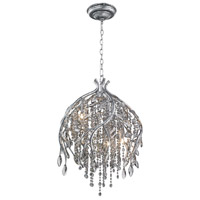 Autumn Twilight 5 Light 20 inch Mystic Silver Pendant Ceiling Light in Smoke Tinted Leaded Crystal