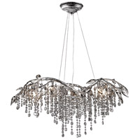 Autumn Twilight 6 Light 31 inch Mystic Silver Chandelier Ceiling Light in Electroplated Smoke Leaded Crystal