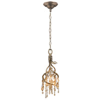 Golden Lighting 9903-M1L-MG Autumn Twilight 4 Light 7 inch Mystic Gold Mini Pendant Ceiling Light in Amber Tinted Leaded Crystal