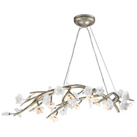 Aiyana 12 Light 53 inch Silver Leaf Chandelier Ceiling Light in Opal Glass