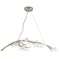 Aiyana 7 Light 46 inch Silver Leaf Chandelier Ceiling Light in Opal Glass