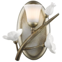 Aiyana 1 Light 8 inch Silver Leaf Bath Vanity Wall Light in Opal Glass