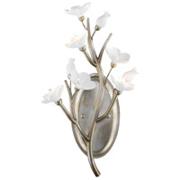 Aiyana 3 Light 11 inch Silver Leaf Wall Sconce Wall Light in Opal Glass