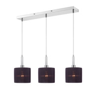 Solal 3 Light 26 inch Chrome Linear Pendant Ceiling Light in Black Pleated Fabric Shade, Iberlamp