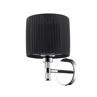 Solal 1 Light 7 inch Chrome Wall Sconce Wall Light in Black Pleated Fabric Shade, Iberlamp