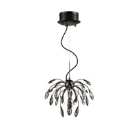 Palm 9 Light 17 inch Graphite Pendant Chandelier Ceiling Light in Graphite Tinted Faceted Crystal, Iberlamp