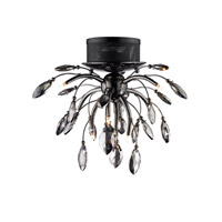 Palm 9 Light 21 inch Graphite Flush Mount Ceiling Light in Graphite Tinted Faceted Crystal, Iberlamp