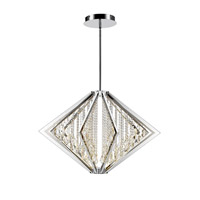 Bezel LED 39 inch Chrome Pendant Ceiling Light in Large, Iberlamp