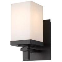 Golden Lighting DDDD-BA1 BLK-OP Maddox 1 Light 5 inch Matte Black Bath Fixture Wall Light