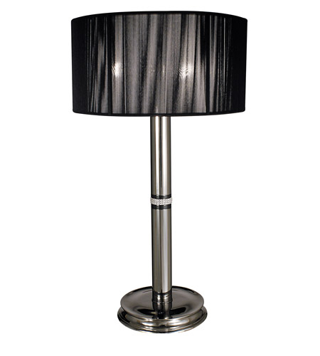 HA Framburg Princessa 3 Light Table Lamp in Polished Silver  w/ Ebony Accents 1087PS/EB photo