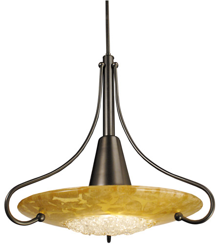 Brocatto 1 Light 19 Inch Mahogany Bronze Pendant Ceiling In Gold Leaf