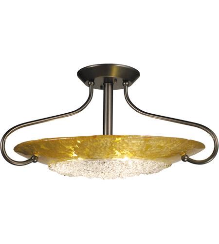 HA Framburg Brocatto 3 Light Semi-Flush Mount in Mahogany Bronze/Gold Leaf 1098MB/GL photo