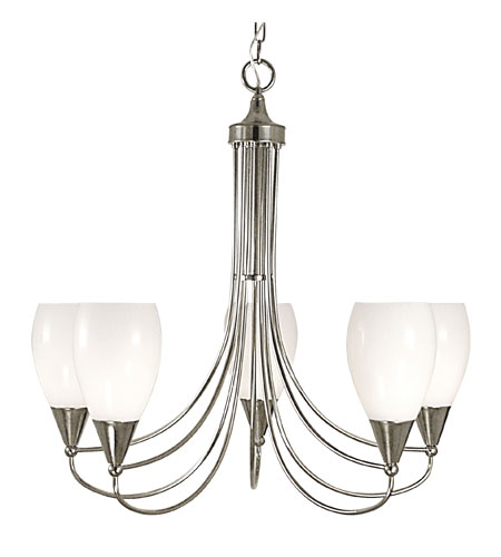 HA Framburg Simplicity 5 Light Chandelier in Polished Silver 1365PS photo