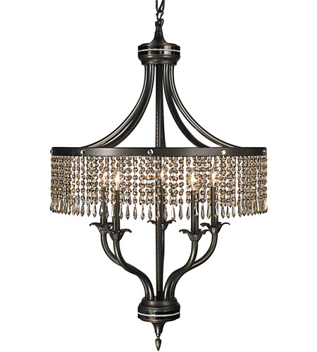 Framburg 1495MB/EB Princessa 5 Light 26 inch Mahogany Bronze with Ebony Dining Chandelier Ceiling Light in Without Crystal photo