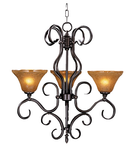 HA Framburg Black Forest 3 Light Chandelier in Mahogany Bronze/Cognac Piastra 1753MB photo