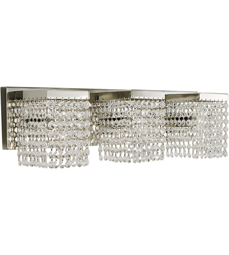 HA Framburg Gemini 3 Light Bath and Sconces in Polished Silver/Clear Crystal 1993PS/C photo